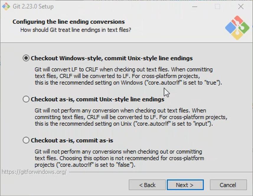 Git configure line ending conventions.