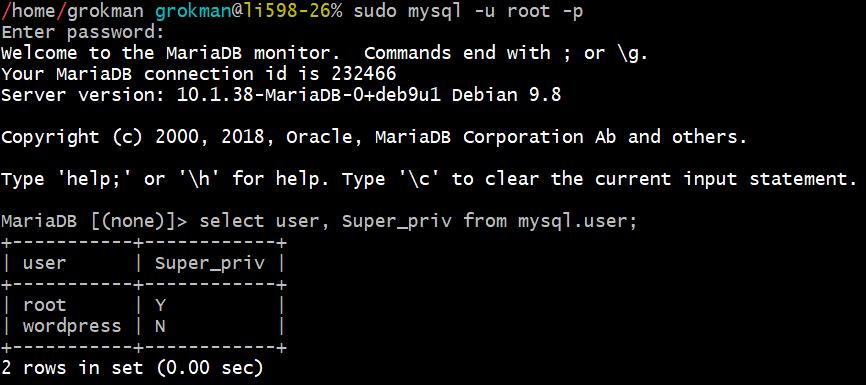 MySQL Root Login List Users